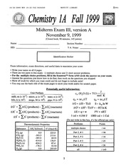 Chemistry 1A - Fall 1999 - Pines - Midterm 3