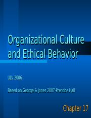 ECBU 655-Designing Effective Organizations-Chapter 17. Organizational Culture and Ethical Behavior.