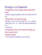 Energy in a Capacitor