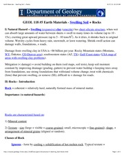 #5Earth Materials - Swelling Soil + Rocks