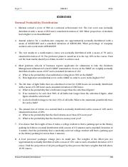 QBA241 Exercises Topic 7 Normal Probability Distribution 2016