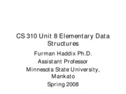 CS 310 Unit 8 Elementary Data Structures