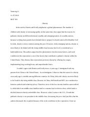 obesity-reflection paper