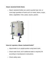 Steam Jacketed Kettle Notes