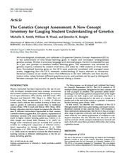 The Genetics Concept Assessment- A New Concept Inventory for Gauging Student Understanding of Geneti