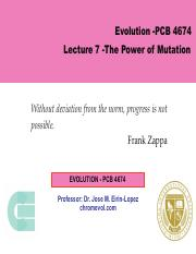 Lecture 7 -The Power of Mutation