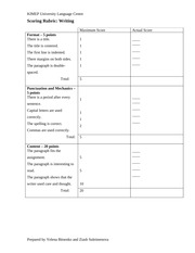 Scoring Rubric for Writing