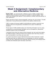 Week 5 Assignment Complementary and Alternative Medicine.docx