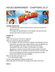 HOLES WORKSHEET - CHAPTERS 13-17