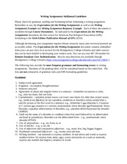 Writing Assignments Additional Guidelines