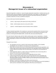 Discussion-4(Managerial issues of a networked organization)