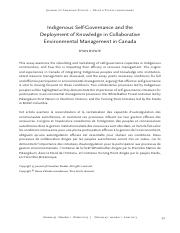 5-Indigenous Self-Governance and the Deployment of Knowledge in Collaborative Environmental Manageme