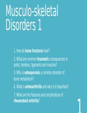 Musculoskeletal disorders 1-4