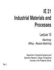 IE 21 L13 Machining - Milling-Abrasive Machining.pdf
