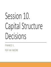 Session 10 and 11. Capital Structure - Basic Concepts
