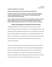 MBA644_Midterm Essay_Monetary Policy during the Great Depression and Great Recession