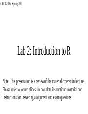 Lab 2 - Introduction to R