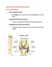 Ankle and Knee injuries Notes