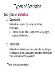 01-Types of Statistics-students ppt - Types of Statistics Two types