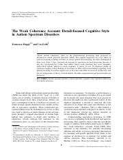 Happe - 2006 - weak coherence account - detail-focused cognitive style in ASDs.pdf