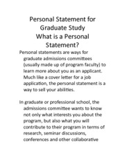 Personal Statement for Graduate StudyUB