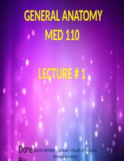 MED 110 FIRST LECTURE