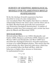 SURVEY OF EXISTING RHEOLOGICAL MODELS FOR FILAMENTOUS MOULD SUSPENSIONS