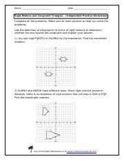Geo Sheet Name Date Rigid Motions And Congruent Triangles