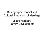 FAMILY DEVELOPMENT (Social and cultural Predictors of Marriage I)-2(1)
