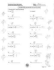 Precal Inverse Trig Quiz Review Solutions