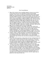 Unit 1 Essay Reflection