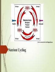 Bio 102 Unit 1 Nutrient Cycling.ppt