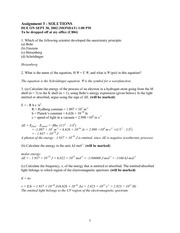 CHEM 1000A Fall 2002 Assignment 3 Solutions