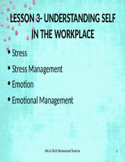 Lesson 3- Understanding self in the workplace