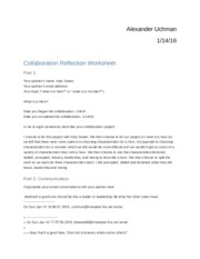 Collaboration Reflection Worksheet