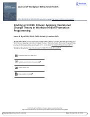 Finding a Fit With Fitness Applying Intentional Change Theory in Worksite Health Promotion Programmi