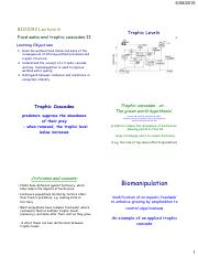 Lecture 6 - Food webs and trophic cascades II - 6 slides pp