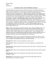 Secondary Source Analysis Template