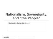 Lecture 9 -- The People and their Sovereignty