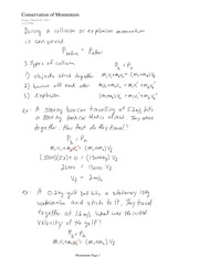 PHYS 11 Conservation of Momentum Notes