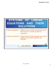 SYSTEMS OF LINEAR EQUATIONS AND THEIR SOLUTIONS NOTE