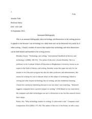 Tolle-ENC1101-AnnotatedBibliography