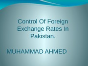 Control Of Foreign Exchange Rates In Pakistan