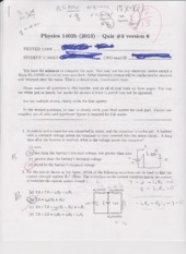Physics 1302B Quiz 3 2013 Version 6