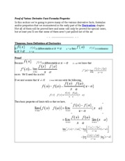 Proof of Various Derivative Facts