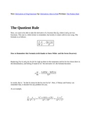 3 The Quotient Rule