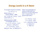 Energy Levels in H