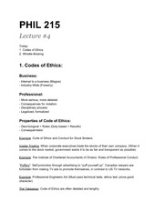 PHIL215-Codes of Ethics