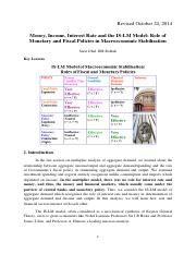 Lecture Note 5 Money, Interest and Income-ISLM Model 2014.pdf