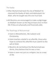 World History 1 -The Islam